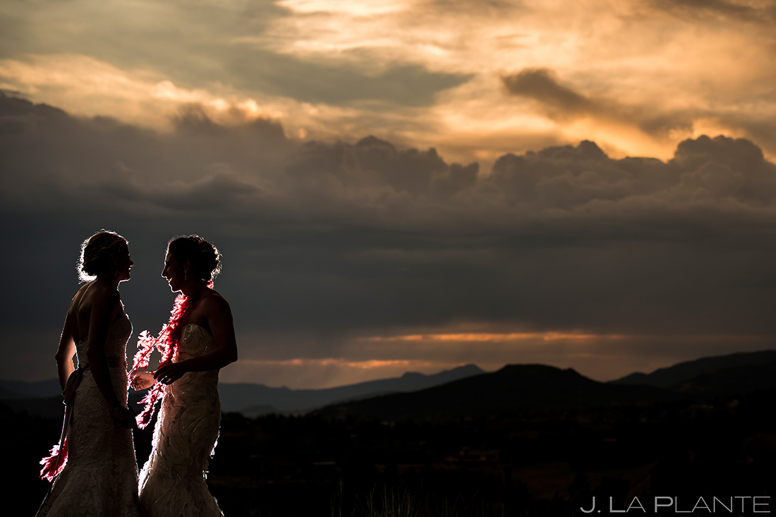 Bride and Bride Sunset Wedding Photo | Steamboat Springs Wedding | Colorado Wedding Photographer | J. La Plante Photo
