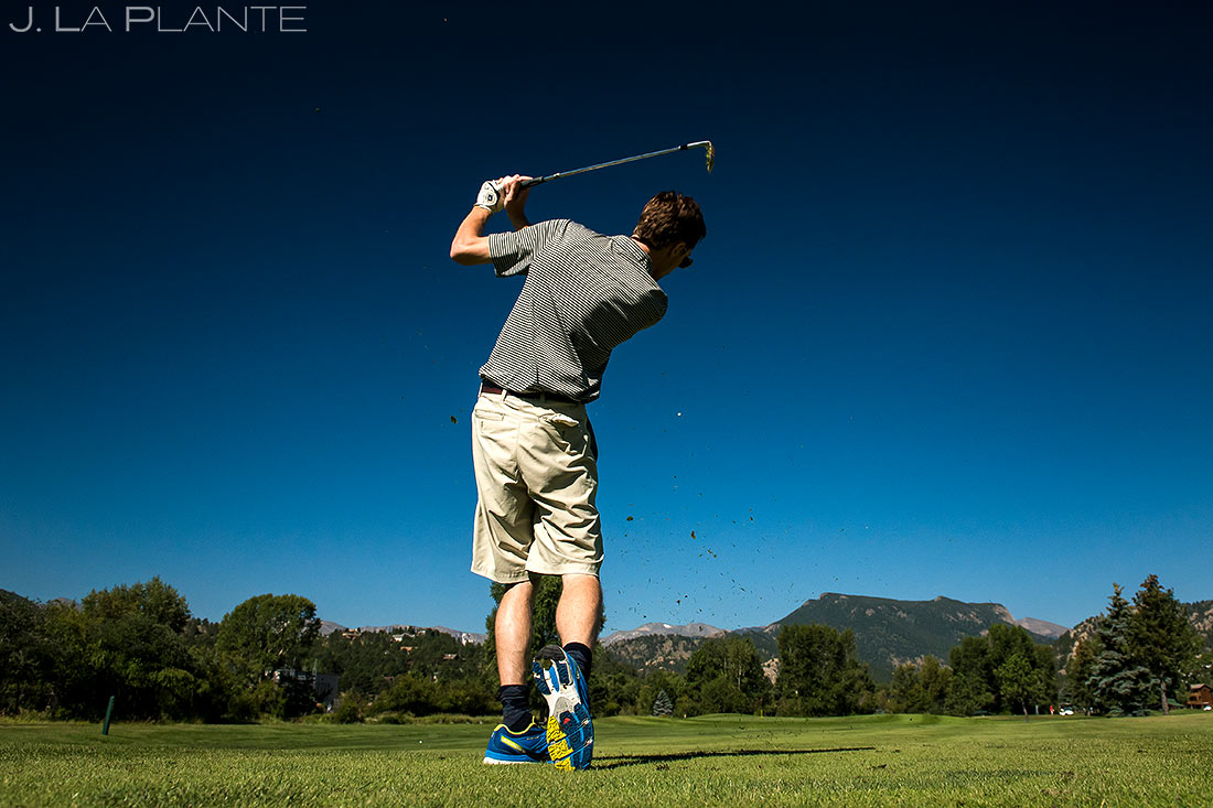 Groom Golfing Before Wedding | Dao House Wedding | Estes Park Wedding Photographer | J. La Plante Photo