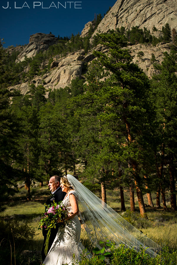 Bride Walking Down Aisle | Della Terra Wedding | Estes Park Wedding Photographer | J. La Plante Photo