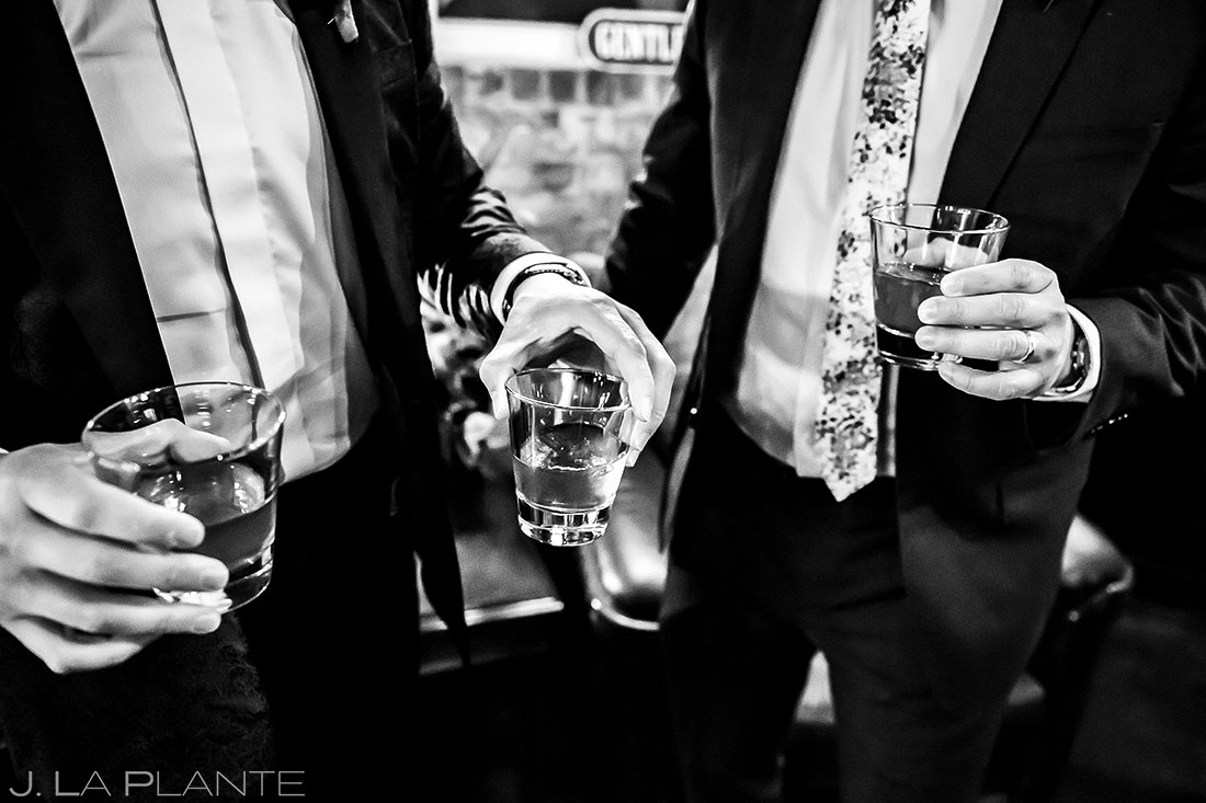 Groomsmen Drinking Whiskey | Manor House Wedding | Denver Wedding Photographer | J. La Plante Photo