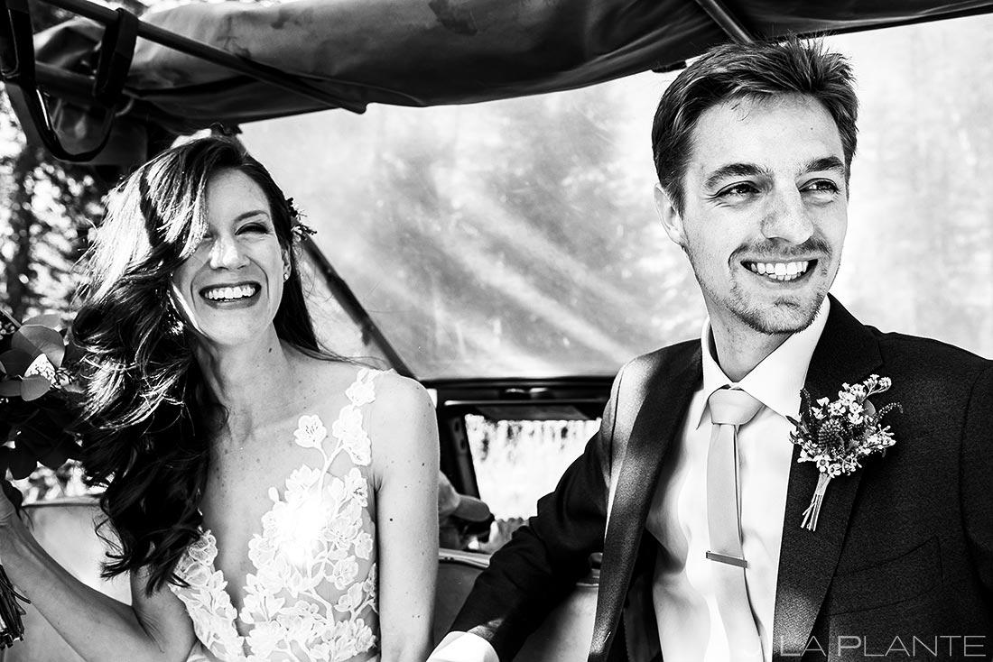 Bride and Groom Riding to Ceremony   Dao House Wedding   Estes Park Wedding Photographer   J. La Plante Photo