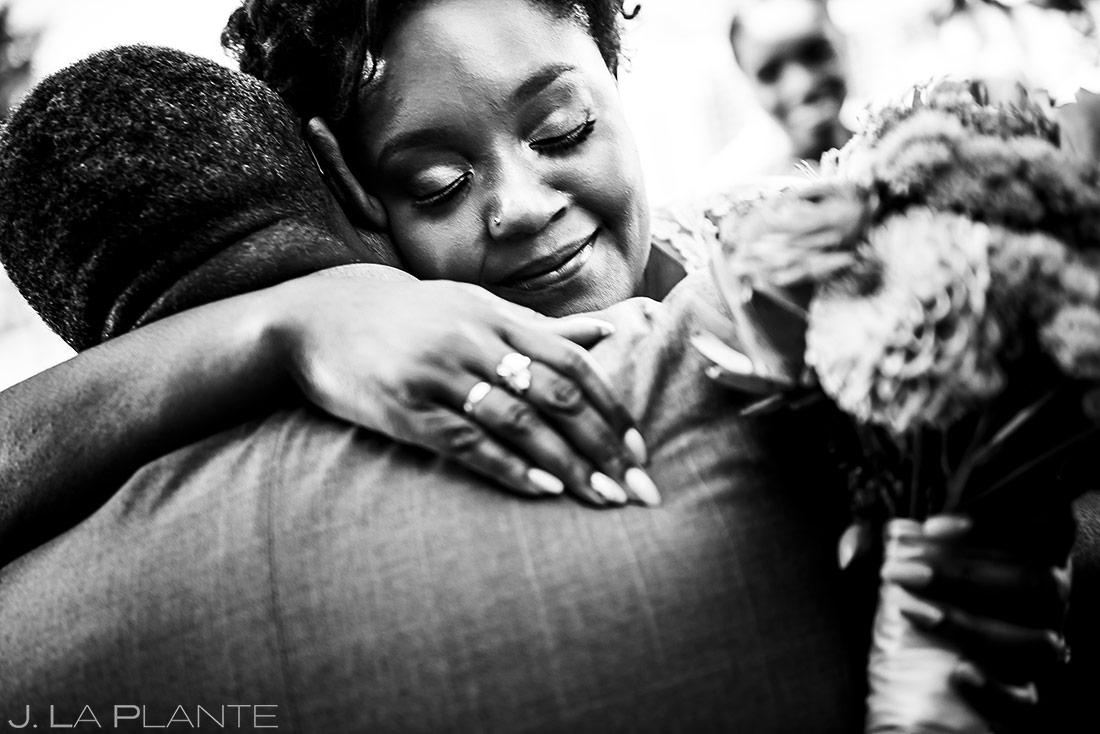 Bride Hugging Father | Denver Botanic Gardens Wedding | Denver Wedding Photographer | J. La Plante Photo
