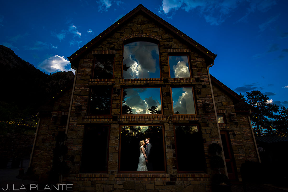 Bride and Groom Sunset Photo | Della Terra Wedding | Estes Park Wedding Photographer | J. La Plante Photo