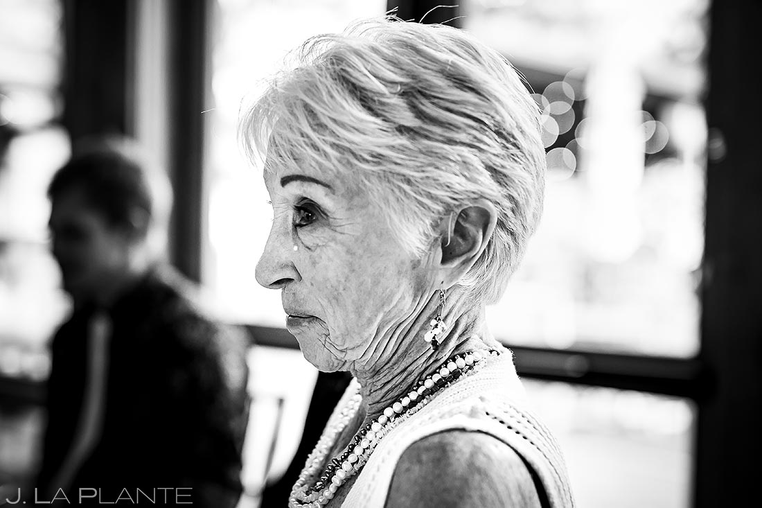 Bride's Grandmother Crying | Della Terra Wedding | Estes Park Wedding Photographer | J. La Plante Photo