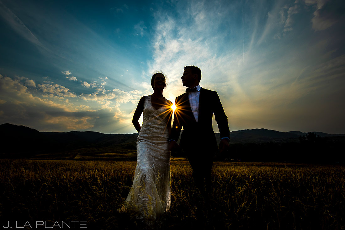 Bride and Groom Sunset Portrait | Manor House Wedding | Denver Wedding Photographer | J. La Plante Photo