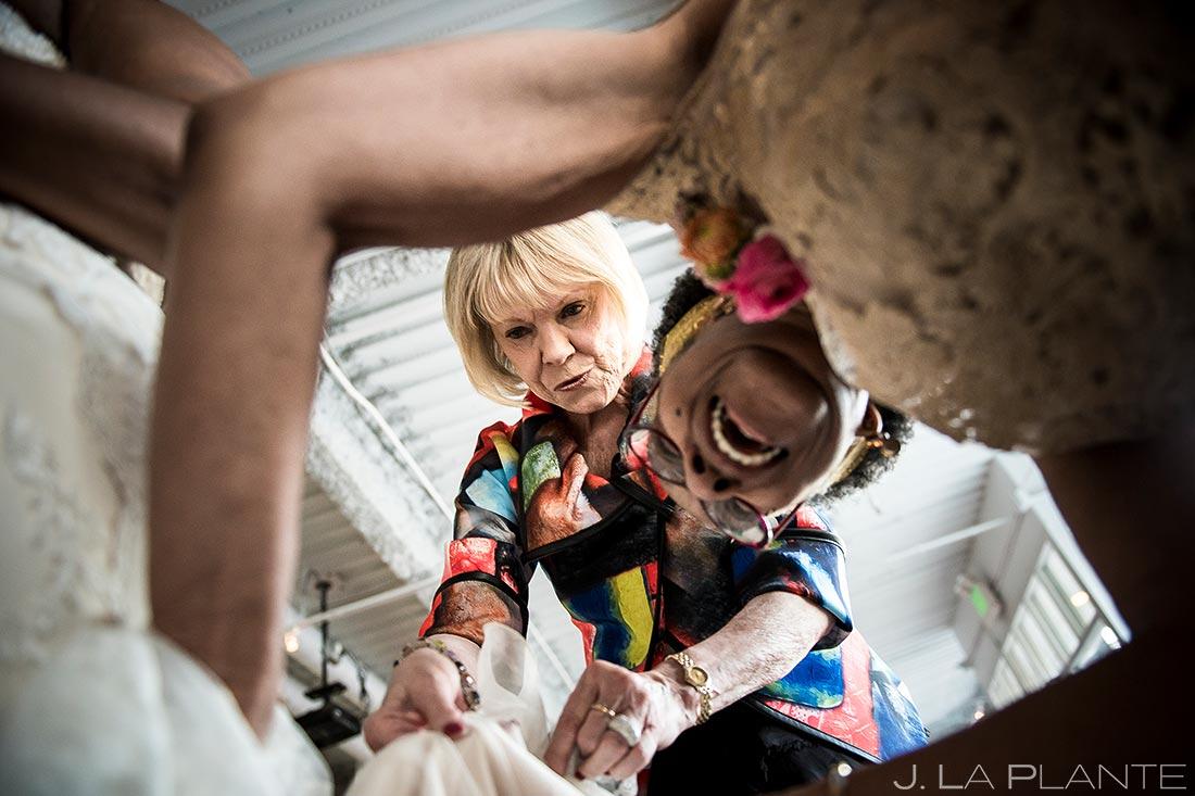 Bride Getting Bustled | Denver Botanic Gardens Wedding | Denver Wedding Photographer | J. La Plante Photo