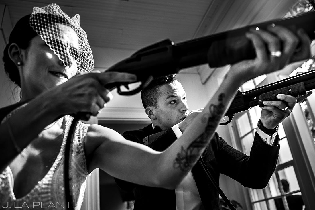 Bride and Groom Playing Big Buck Hunter | Manor House Wedding | Denver Wedding Photographer | J. La Plante Photo