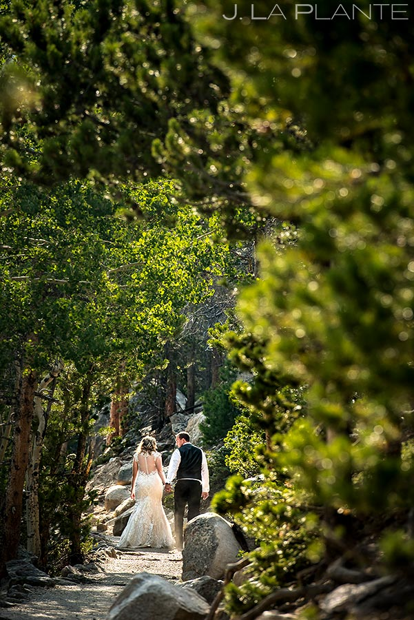 Bride and Groom Hiking | Rocky Mountain National Park Wedding | Estes Park Wedding Photographer | J. La Plante Photo