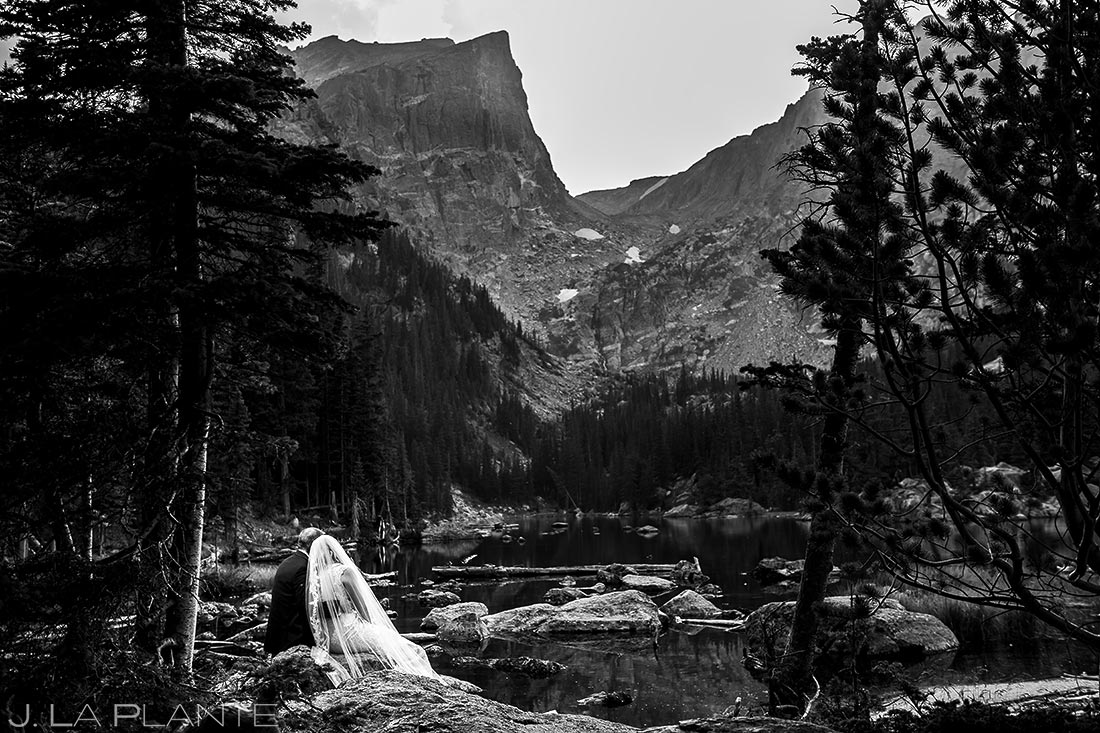 Bride and Groom at Dream Lake | Rocky Mountain National Park Wedding | Estes Park Wedding Photographer | J. La Plante Photo