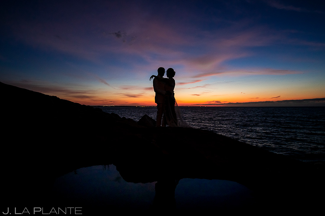 Bride and Groom Sunrise Wedding Portrait | Rhode Island Wedding | Destination Wedding Photographer | J. La Plante Photo