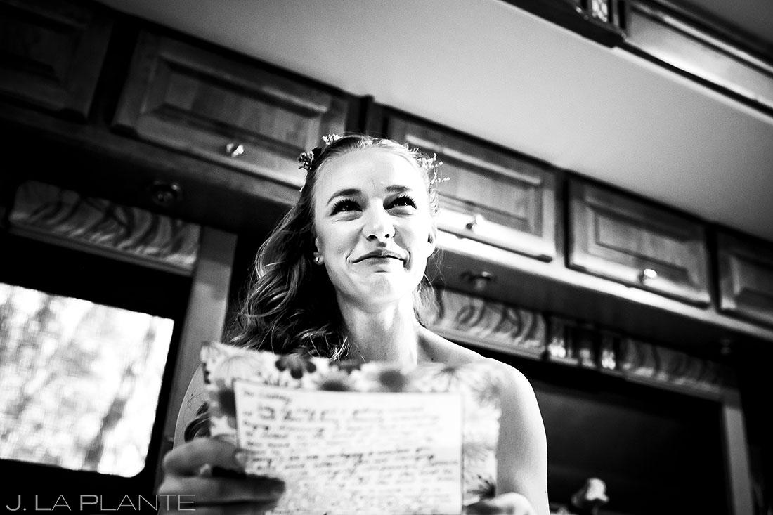 Bride Reading Groom's Letter | Buena Vista Wedding | Rustic Mountain Wedding | Colorado Wedding Photographer | J. La Plante Photo