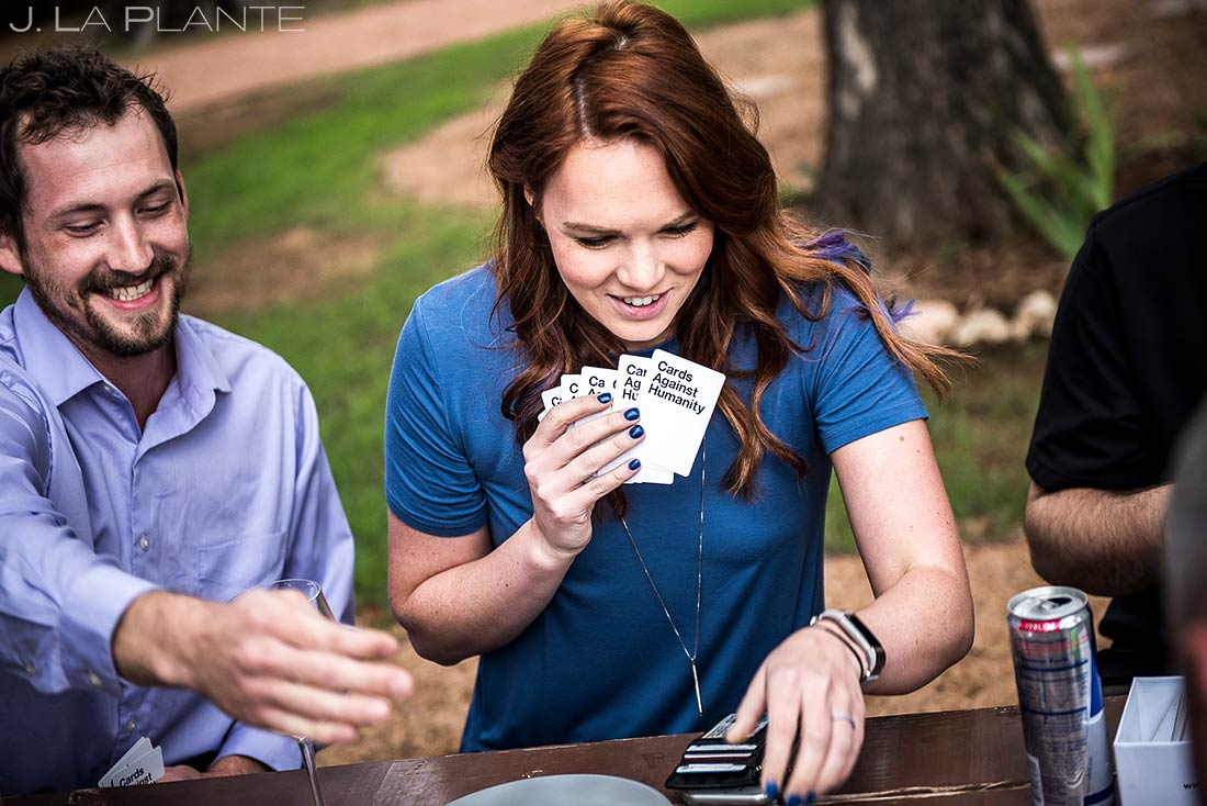 Wedding Guests Playing Cards Against Humanity | Dallas Winery Wedding | Destination Wedding Photographer | J. La Plante Photo