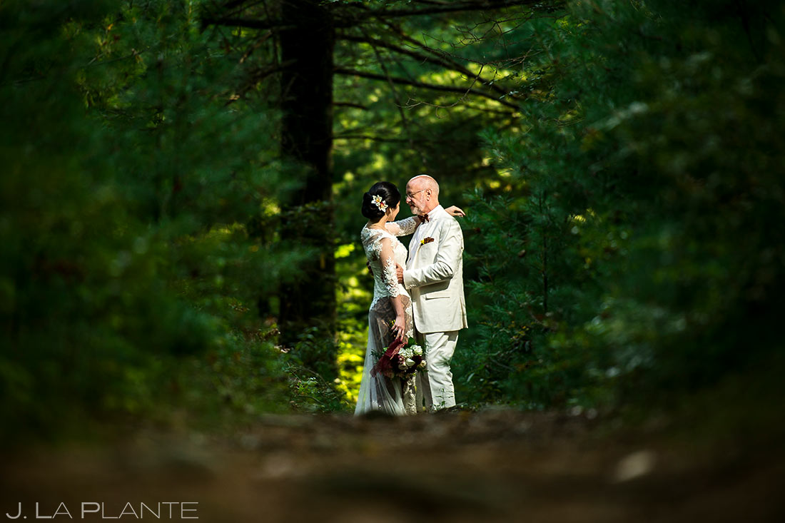 Bride and Groom Hiking in Woods | Rhode Island Wedding | Destination Wedding Photographer | J. La Plante Photo