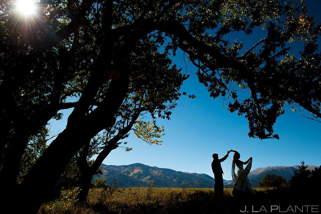 Bride and Groom Silhouette | Buena Vista Wedding | Rustic Mountain Wedding | Colorado Wedding Photographer | J. La Plante Photo