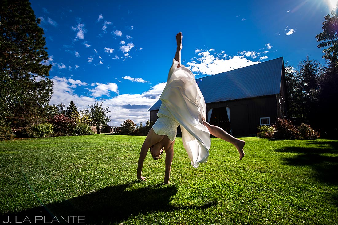 Bride Doing Cartwheel | Barnstar Wedding | Bellingham Washington Wedding | Destination Wedding Photographer | J. La Plante Photo