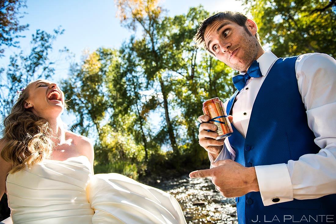 Groom Drinking Beer in River | Buena Vista Wedding | Rustic Mountain Wedding | Colorado Wedding Photographer | J. La Plante Photo