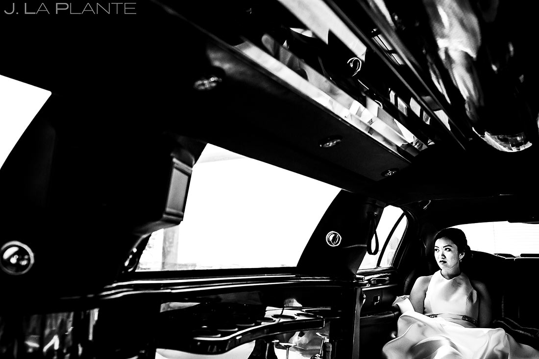 Bride Riding in Limo | Rhode Island Wedding | Destination Wedding Photographer | J. La Plante Photo