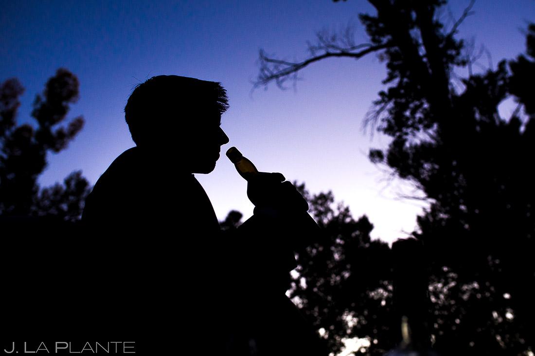 Groom Drinking Whiskey | Buena Vista Wedding | Rustic Mountain Wedding | Colorado Wedding Photographer | J. La Plante Photo