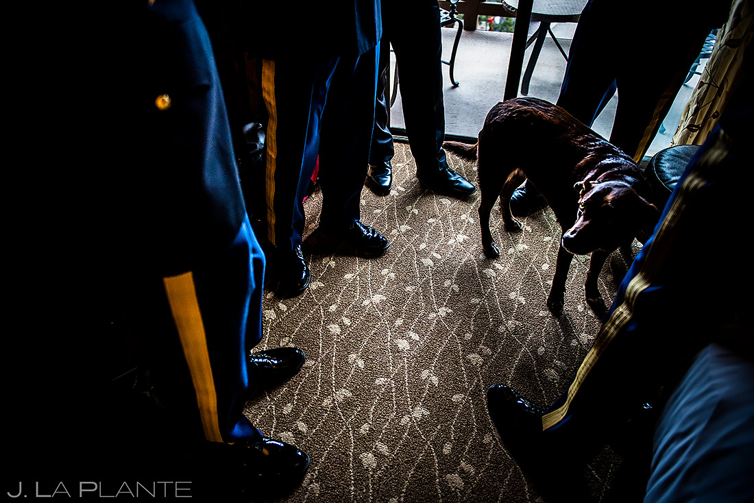 Groomsmen Hanging Out with Dog | Cheyenne Mountain Resort Wedding | Colorado Springs Wedding Photographer | J. La Plante Photo