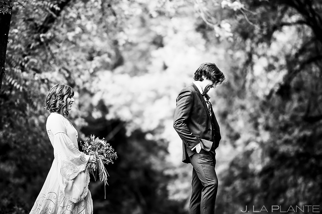 Bride and Groom First Look | Planet Bluegrass Wedding | Boulder Wedding Photographer | J. La Plante Photo