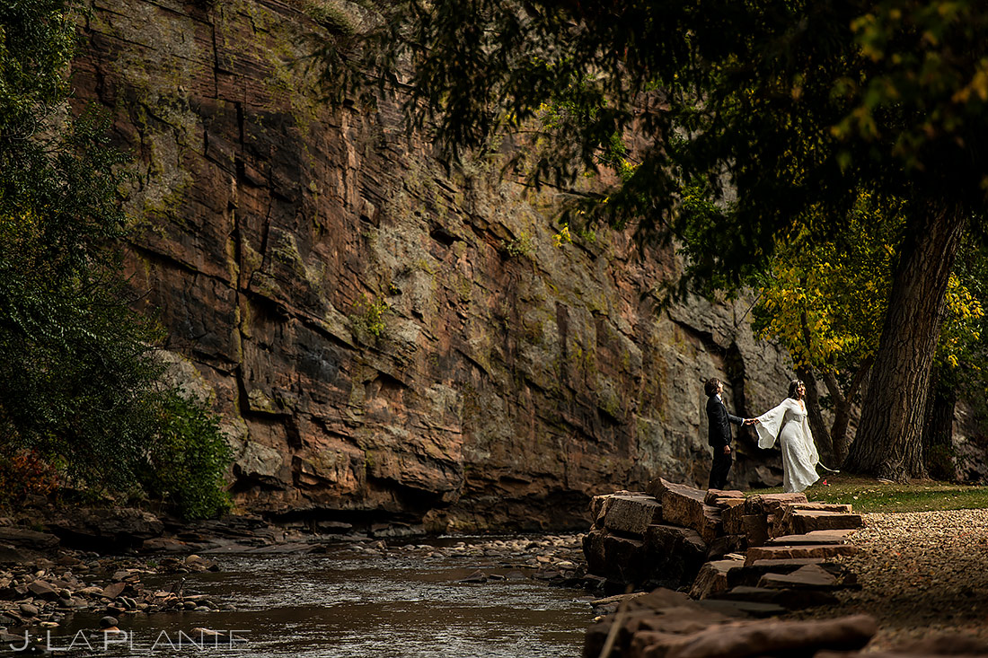 Bride and Groom by River | Planet Bluegrass Wedding | Boulder Wedding Photographer | J. La Plante Photo