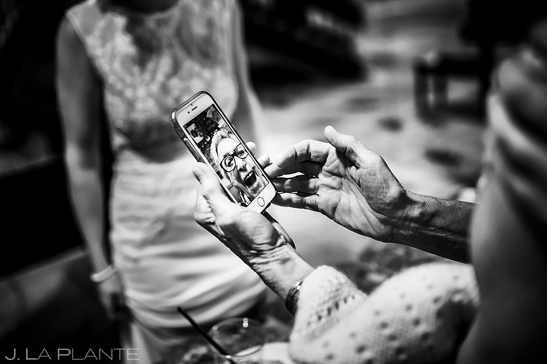 Bride FaceTiming with Grandmother | Cheyenne Mountain Resort Wedding | Colorado Springs Wedding Photographer | J. La Plante Photo