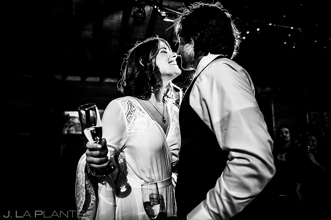 Bride and Groom Kiss | Planet Bluegrass Wedding | Boulder Wedding Photographer | J. La Plante Photo
