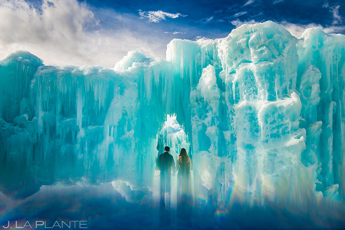 Bride and Groom in Ice Castle | Dillon Ice Castle Engagement | Keystone Wedding Photographer | J. La Plante Photo
