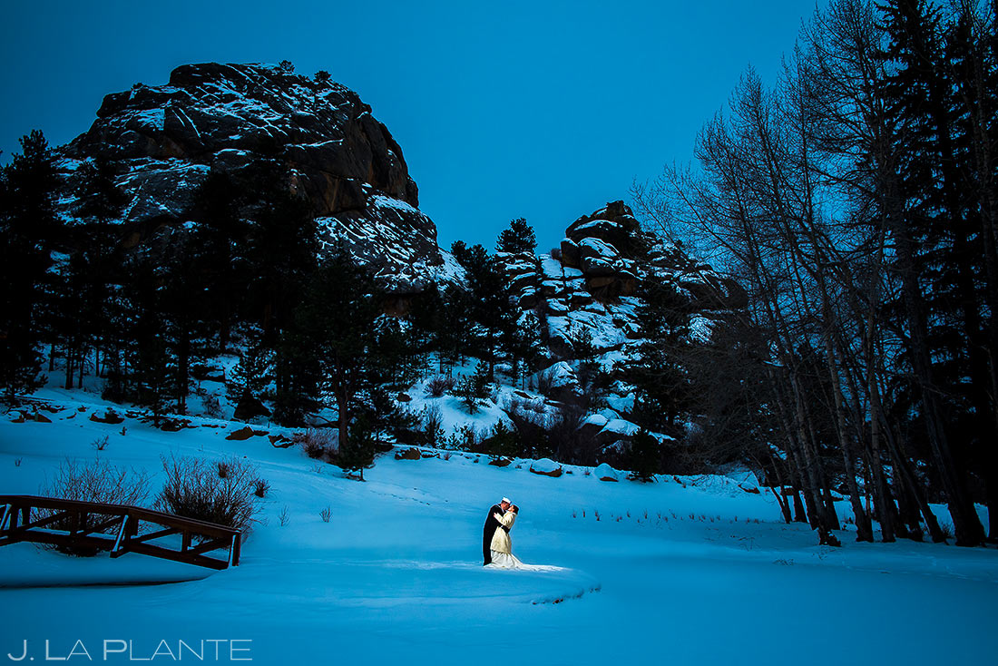Bride and Groom in the Snow | Mary's Lake Lodge Wedding | Estes Park Wedding Photographer | J. La Plante Photo
