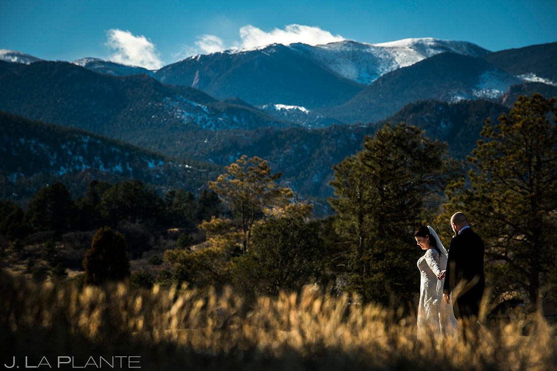 Bride and Groom Mountain Portrait | Cheyenne Mountain Resort Wedding | Colorado Springs Wedding Photographer | J. La Plante Photo