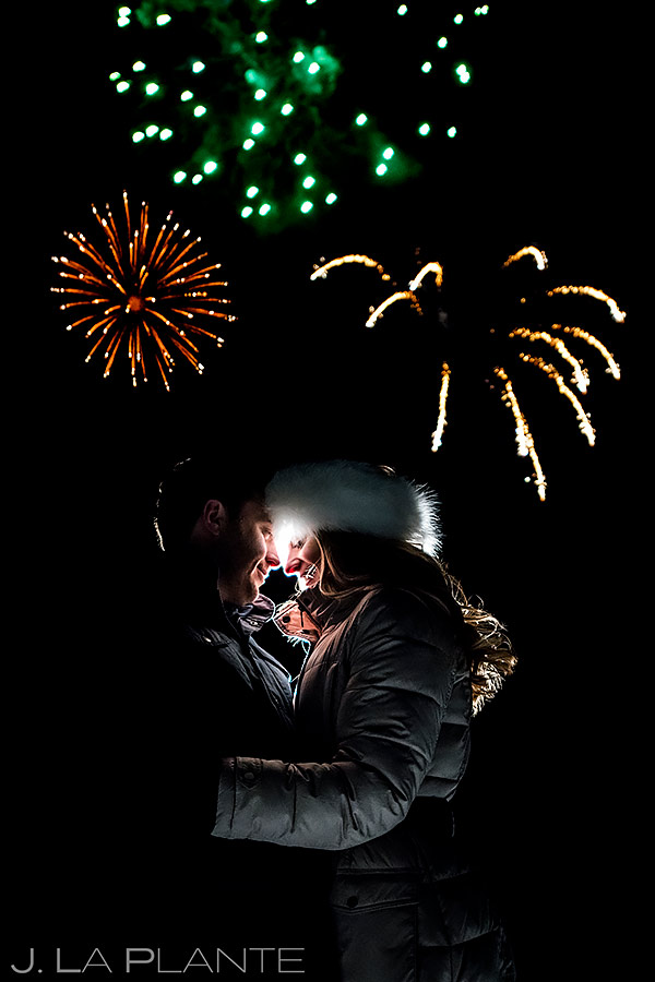 Bride and Groom Fireworks Photo | Beaver Creek Engagement | Beaver Creek Wedding Photographer | J. La Plante Photo