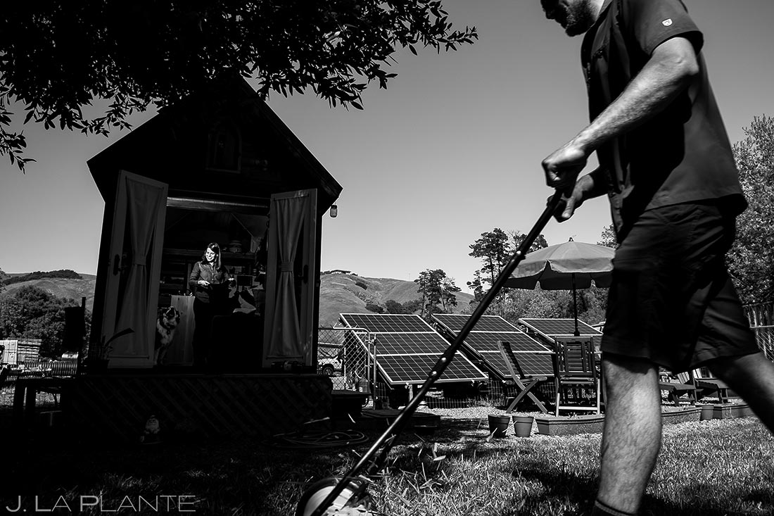 Groom Mowing the Lawn | Tiny House Lifestyle Shoot | San Francisco Wedding Photographer | J. La Plante Photo