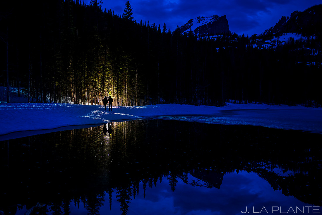 Bride and Groom Hiking Bear Lake | Rocky Mountain National Park Engagement | Estes Park Wedding Photographer | J. La Plante Photo