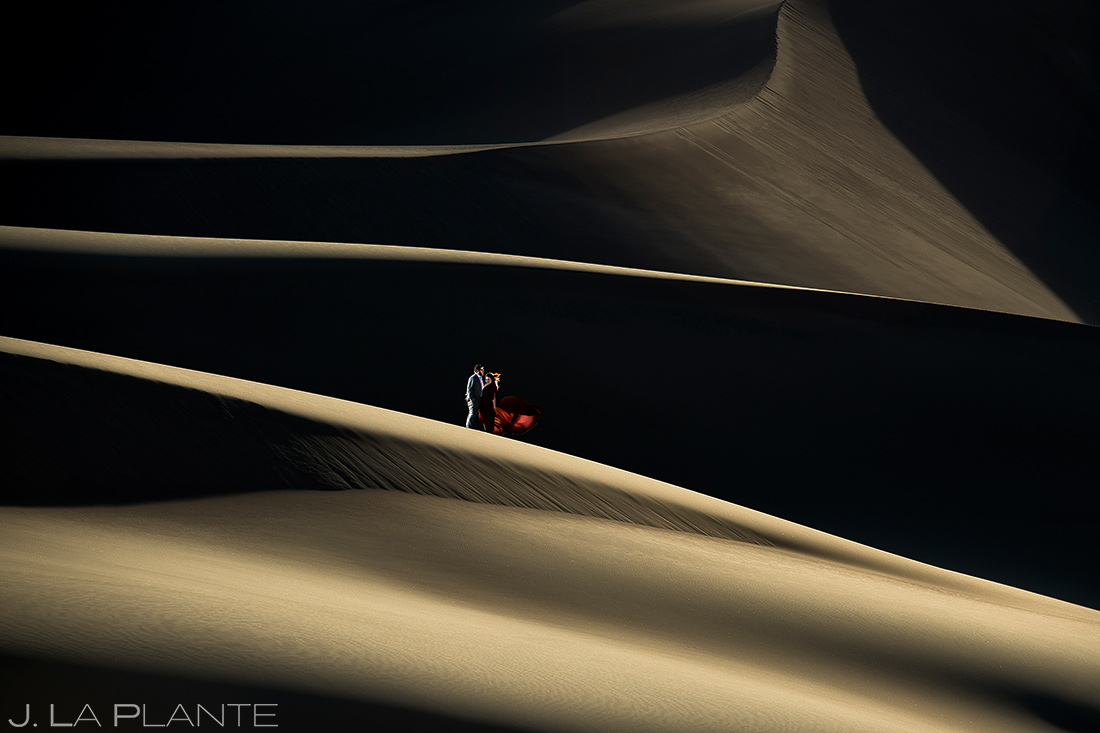 Bride and Groom on Sand Dunes | Great Sand Dunes Engagement | Colorado Wedding Photographer | J. La Plante Photo