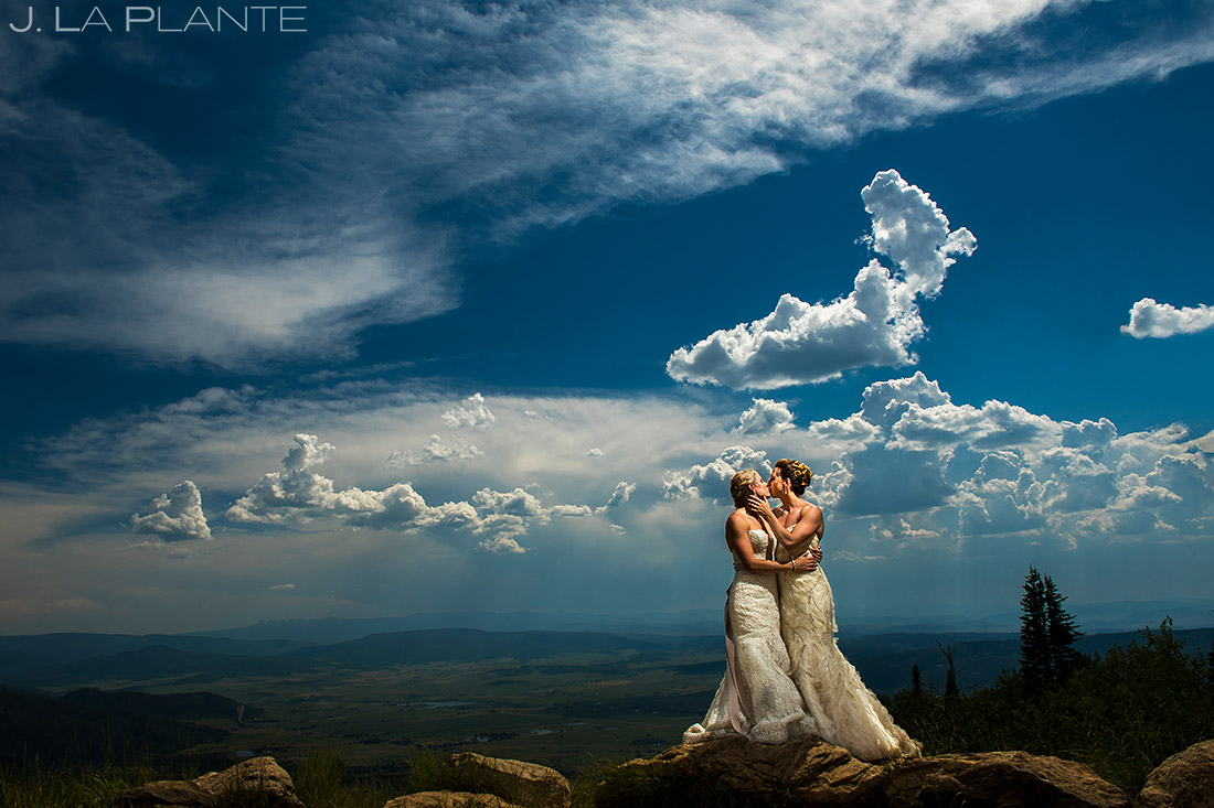 Bride and Bride Wedding Portrait | Steamboat Grand Wedding | Steamboat Springs Wedding Photographer | J. La Plante Photo