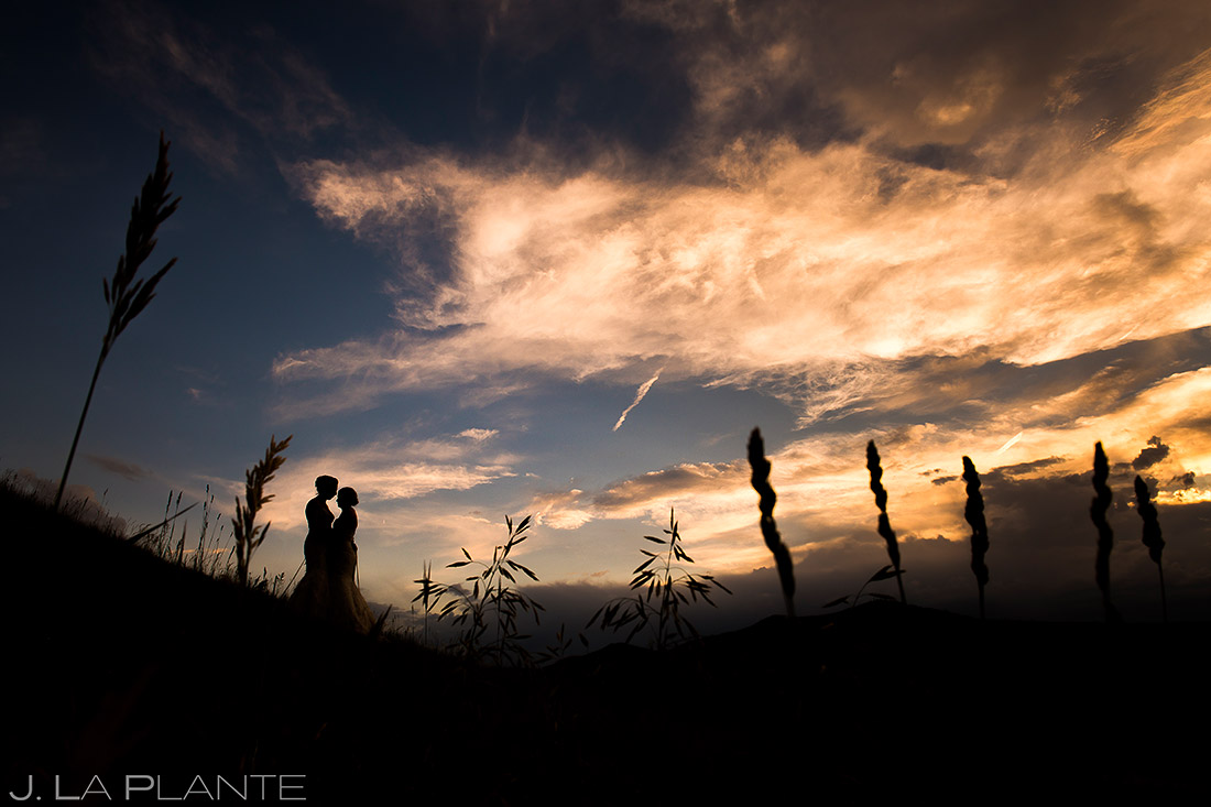 Bride and Bride Sunset Photo | Steamboat Grand Wedding | Steamboat Springs Wedding Photographer | J. La Plante Photo