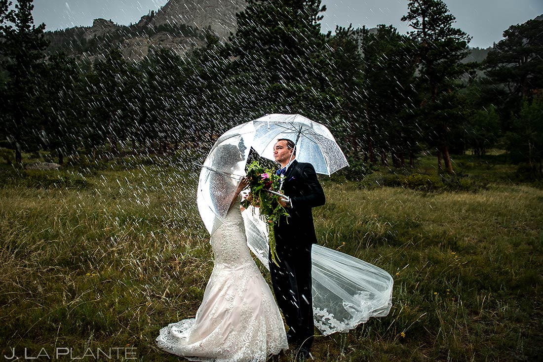 Bride and Groom Umbrellas | Della Terra Wedding | Estes Park Wedding Photographer | J. La Plante Photo