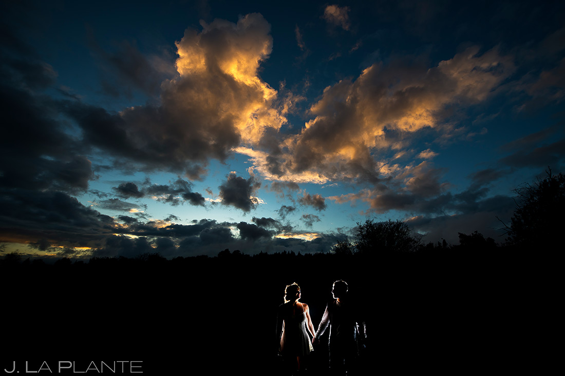 Bride and Groom Sunset Photo | Barnstar Events Wedding | Seattle Wedding Photographer | J. La Plante Photo