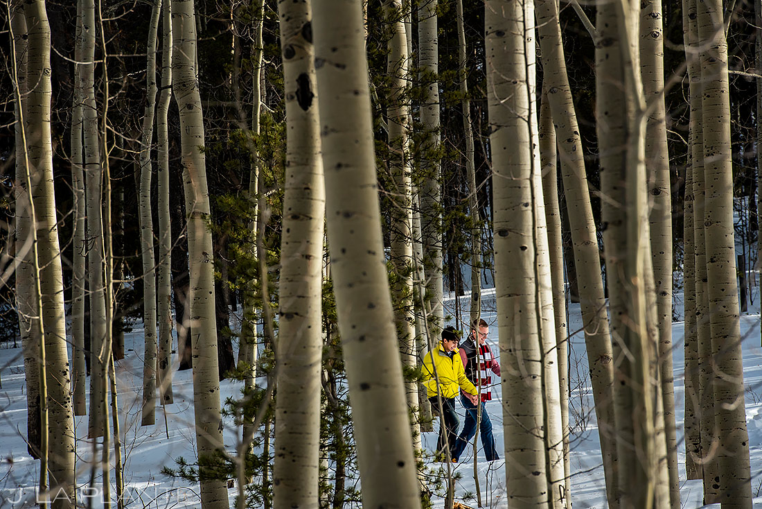 Groom and Groom Hiking in Aspens | Kenosha Pass Engagement | Colorado Wedding Photographers | J. La Plante Photo