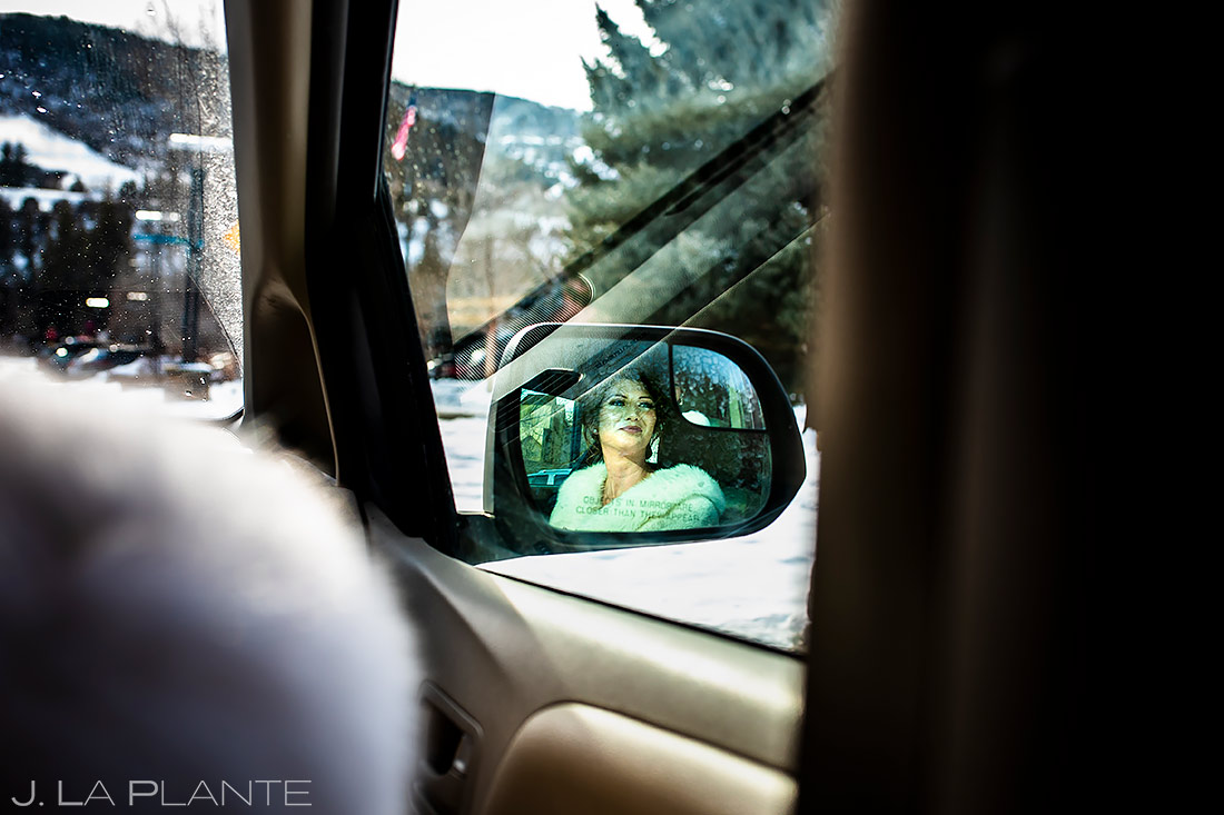 Bride Riding to Ceremony | Sonnenalp Club Wedding | Beaver Creek Wedding Photographer | J. La Plante Photo
