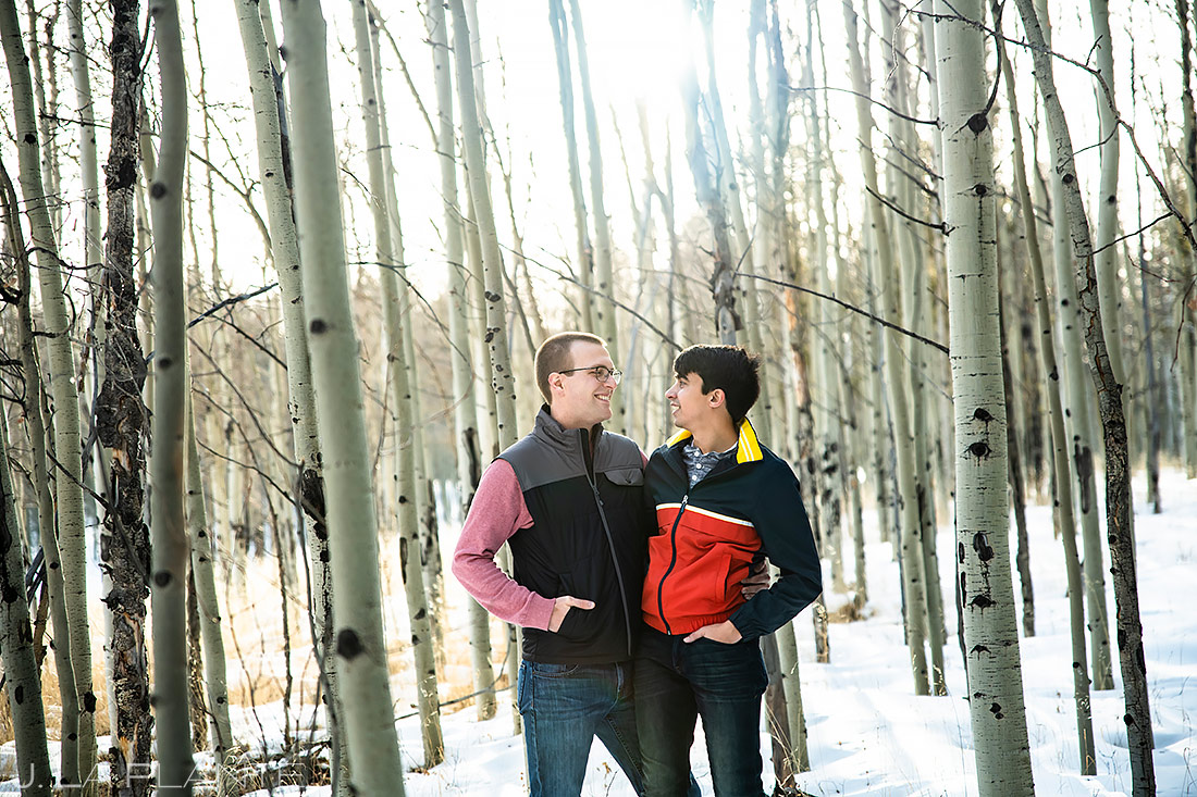 Groom and Groom in Aspen Grove | Kenosha Pass Engagement | Colorado Wedding Photographers | J. La Plante Photo
