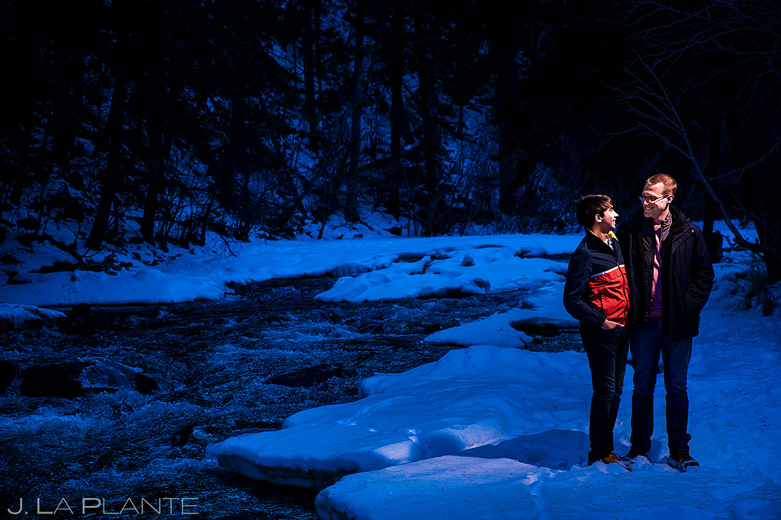 Groom and Groom by River | Kenosha Pass Engagement | Colorado Wedding Photographers | J. La Plante Photo