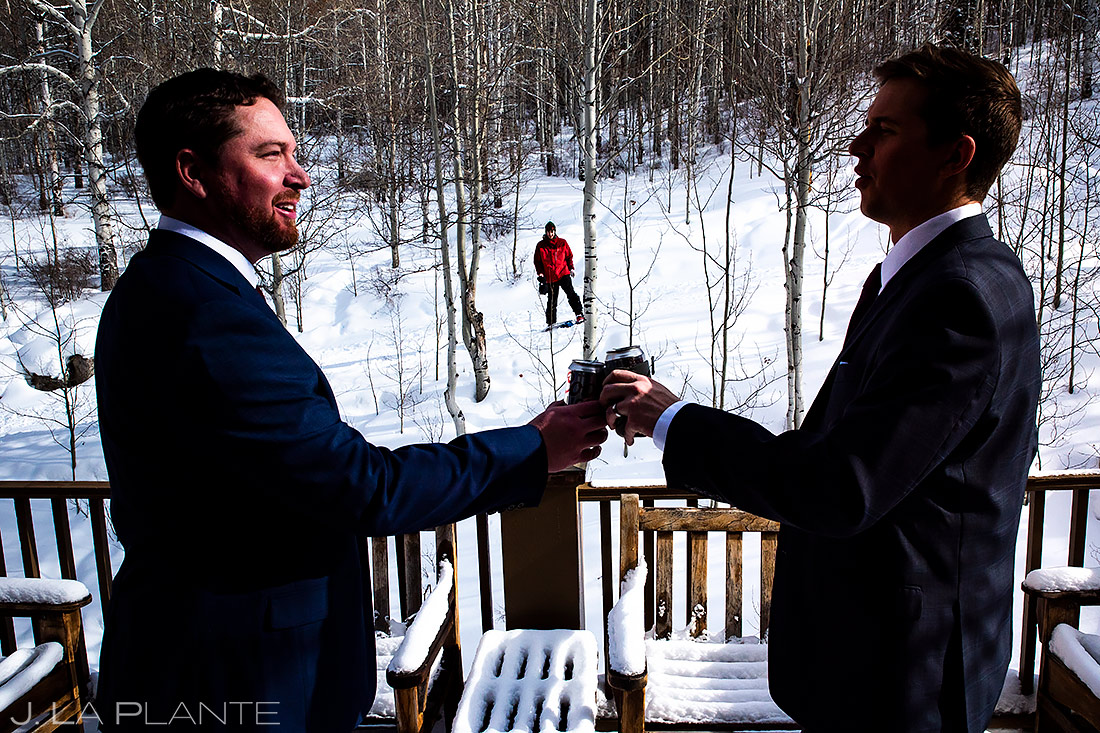 Groom Drinking With Brother | Sonnenalp Club Wedding | Beaver Creek Wedding Photographer | J. La Plante Photo