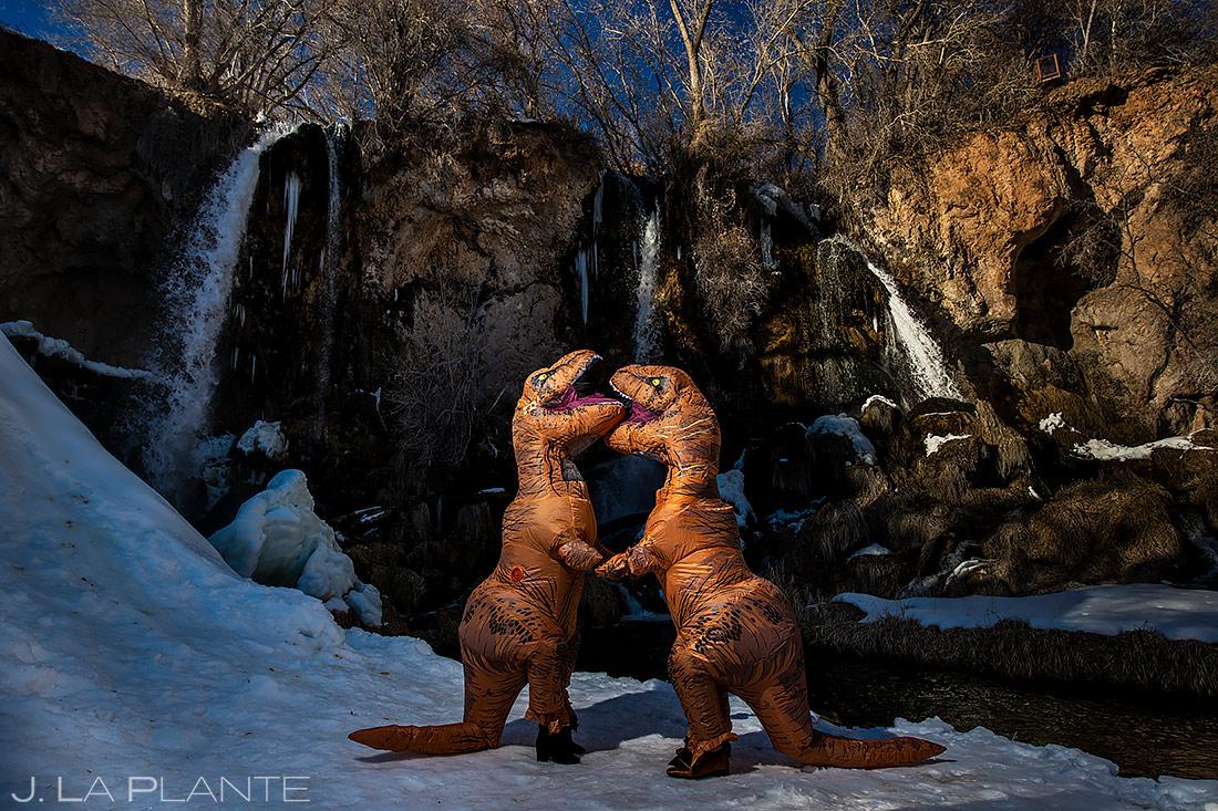 Bride and Groom in Dinosaur Costumes | Rifle Falls Engagement | Colorado Wedding Photographers | J. La Plante Photo