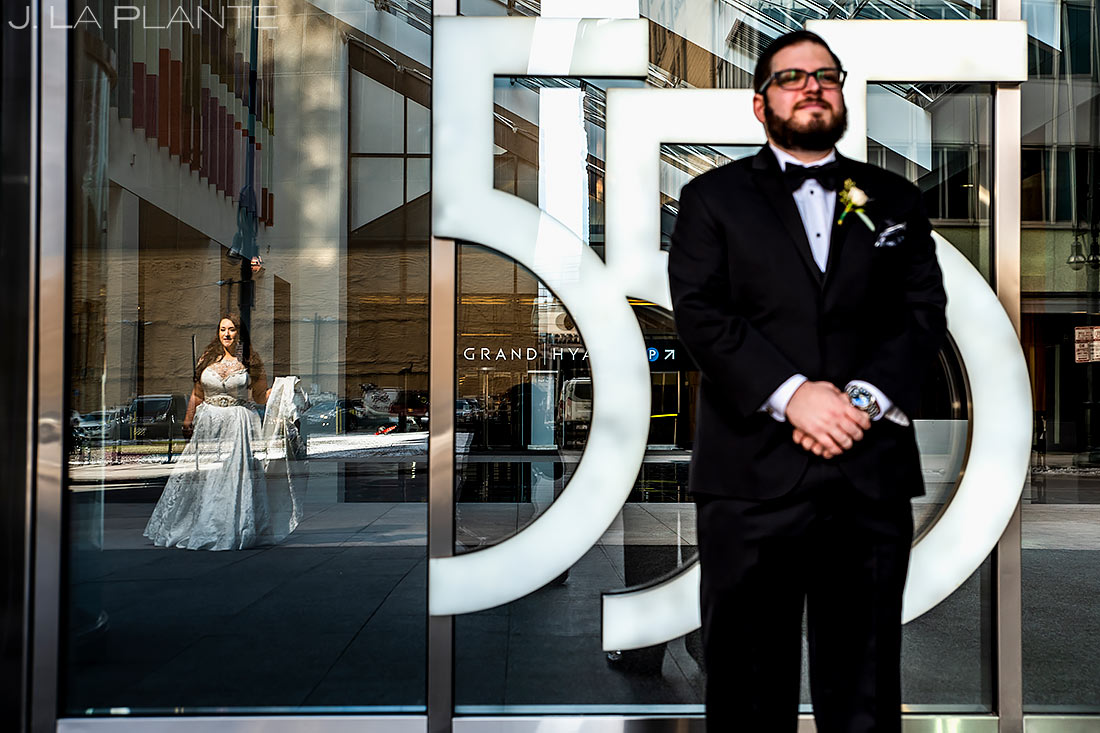 Bride and Groom First Look | Downtown Denver Wedding | Denver Wedding Photographer | J. La Plante Photo