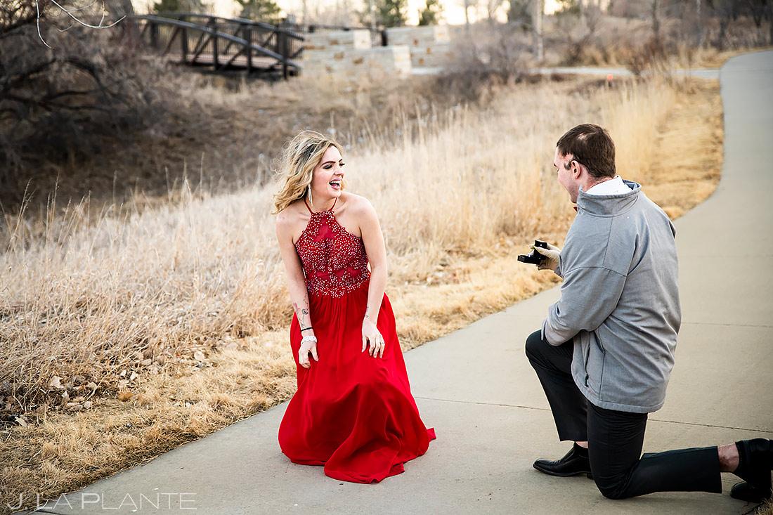Groom Proposing to Bride | Loveland Engagement | Colorado Wedding Photographers | J. La Plante Photo