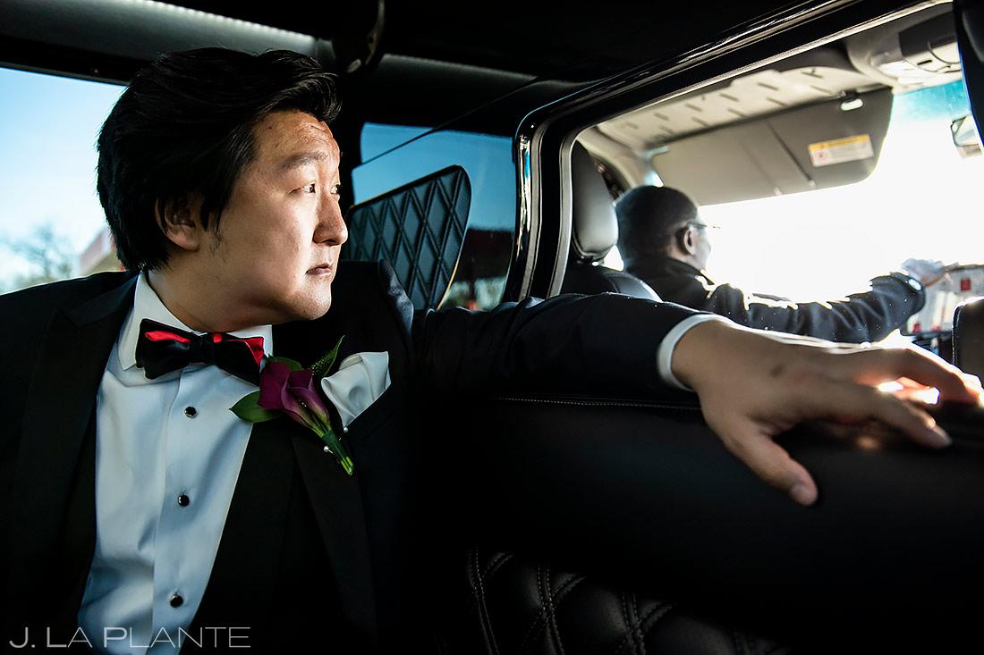 Groom Riding in Limo | Washington DC Wedding | Destination Wedding Photographer | J. La Plante Photo