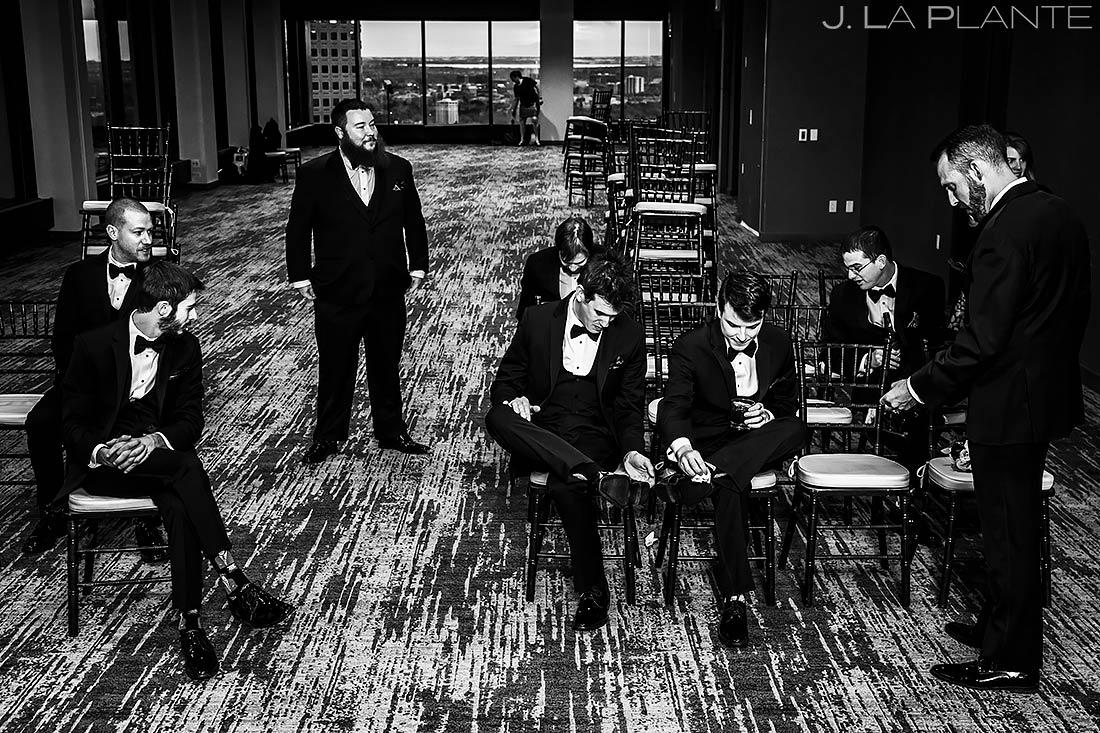 Groomsmen Hanging Out | Downtown Denver Wedding | Denver Wedding Photographer | J. La Plante Photo