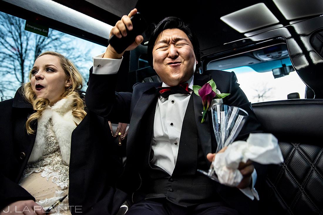 Groom Dancing in Limo | Washington DC Wedding | Destination Wedding Photographer | J. La Plante Photo