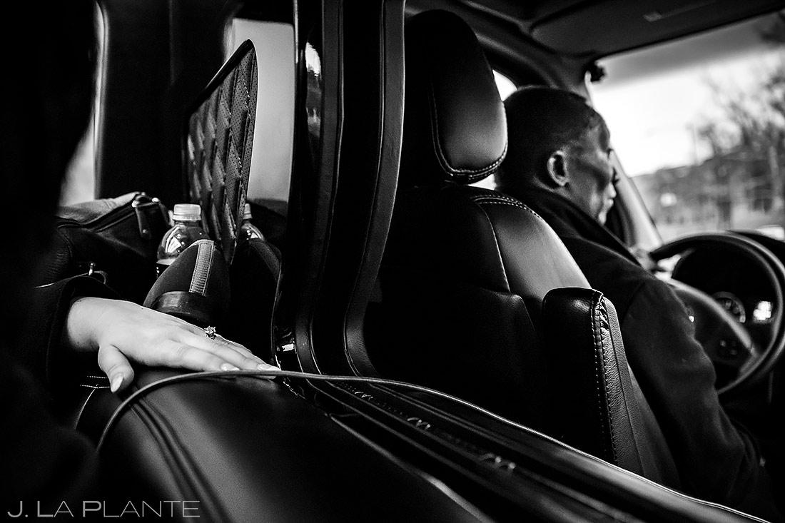 Bride Riding in Limo | Washington DC Wedding | Destination Wedding Photographer | J. La Plante Photo
